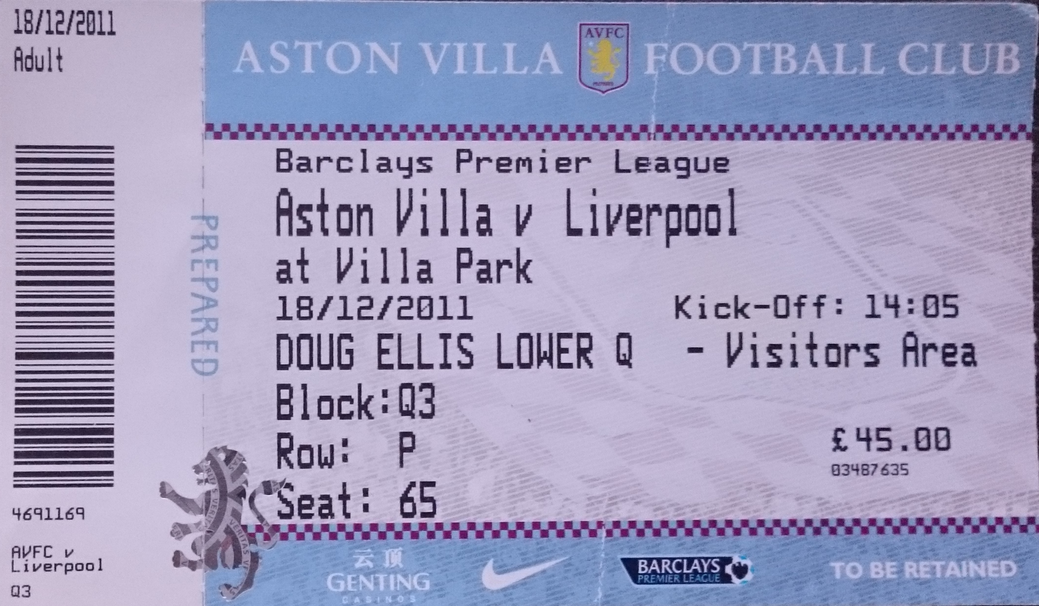 Matchdetails From Aston Villa Liverpool Played On Sunday