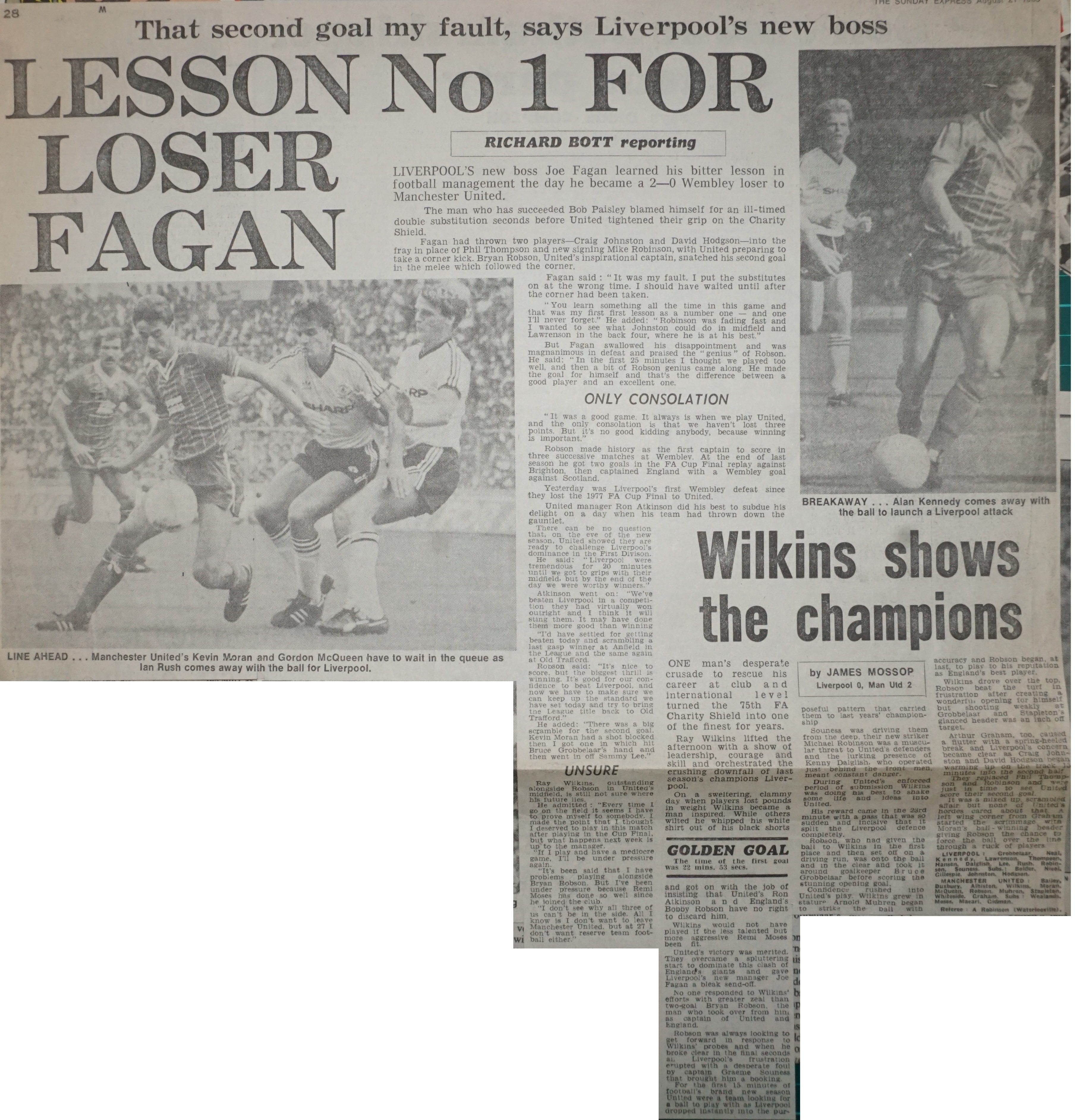 Lesson number one for loser Fagan - August 1983