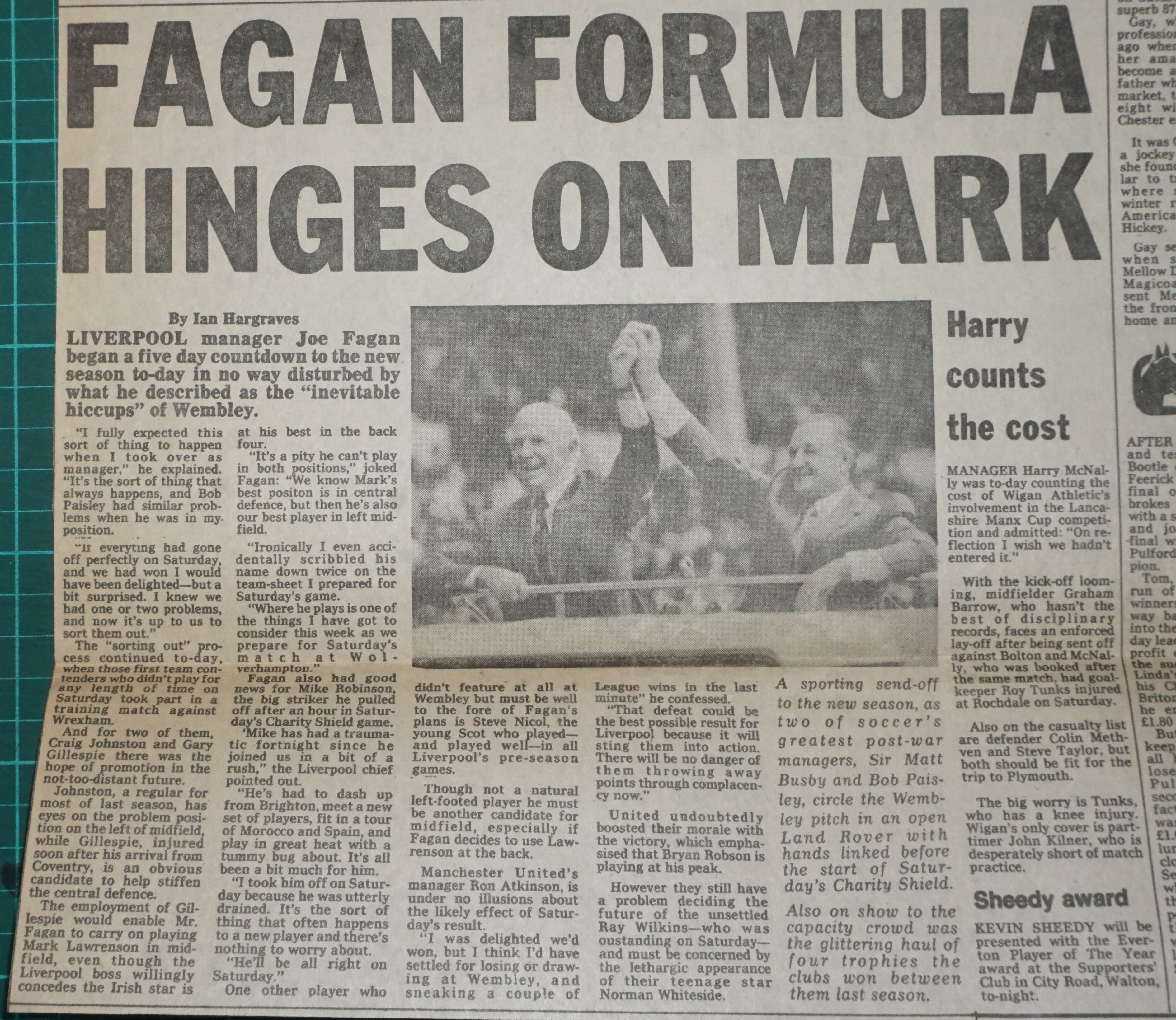 Fagan formula hinges on Mark - August 1983