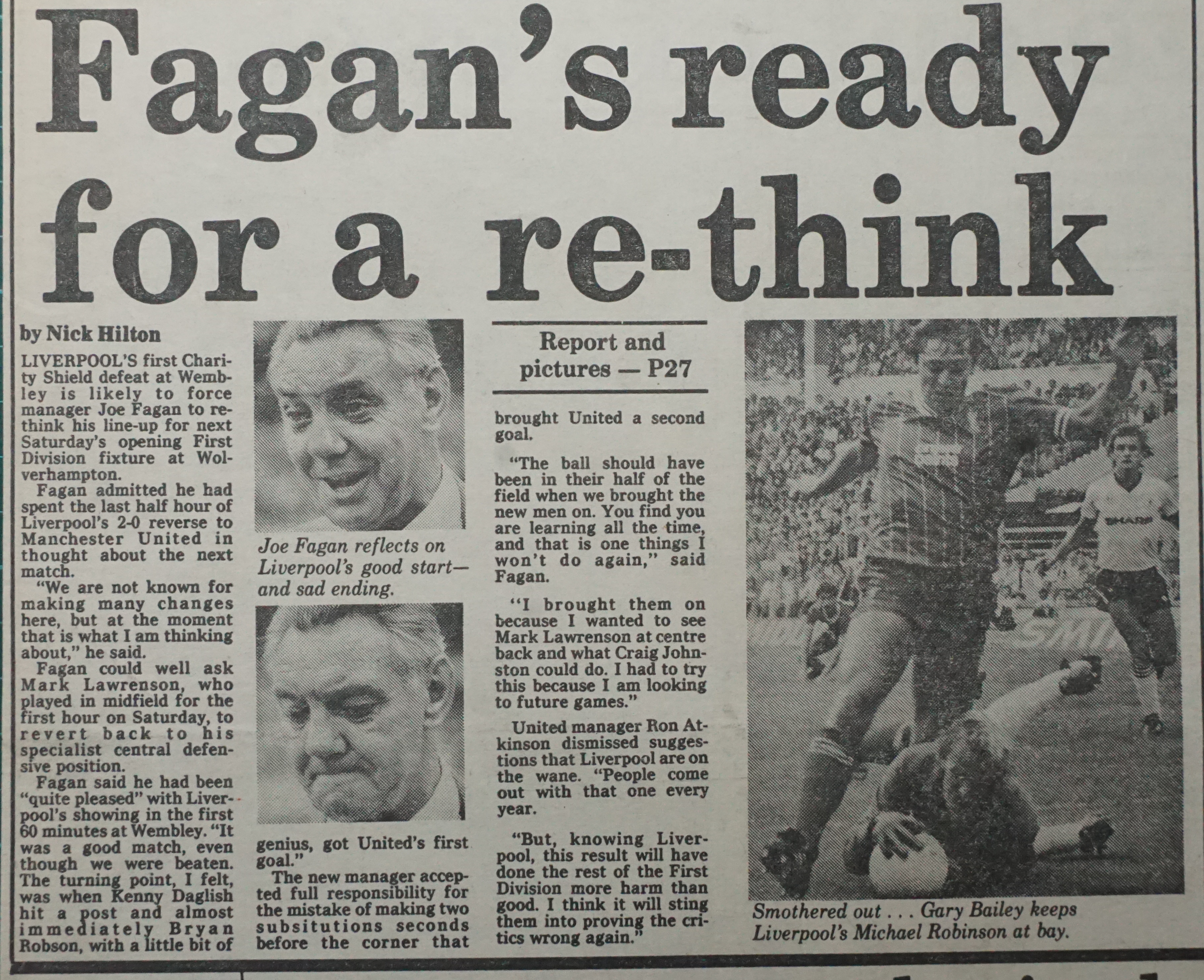 Fagan's ready for a rethink - August 1983