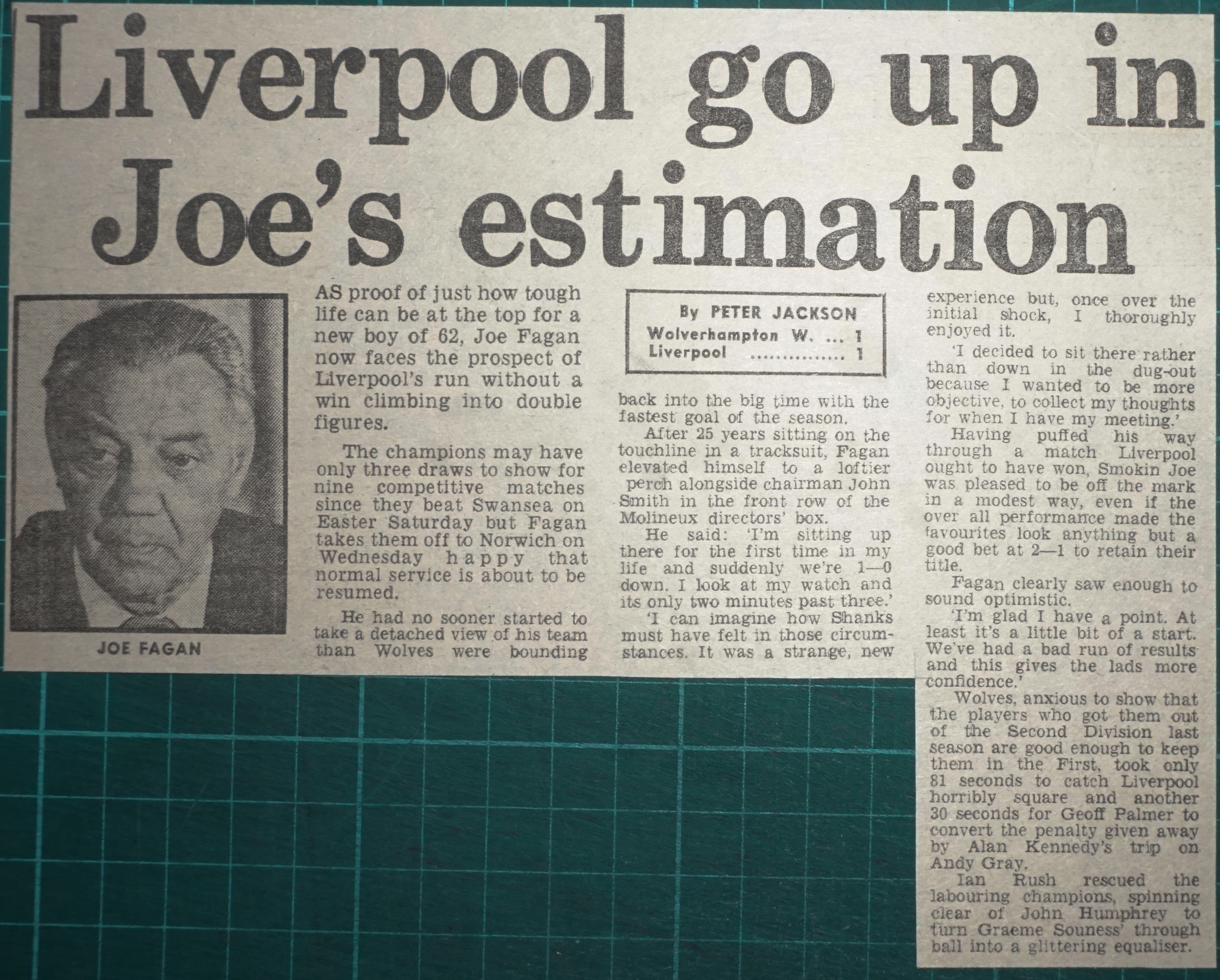 Liverpool go up in Joe's estimation - 24 August 1983
