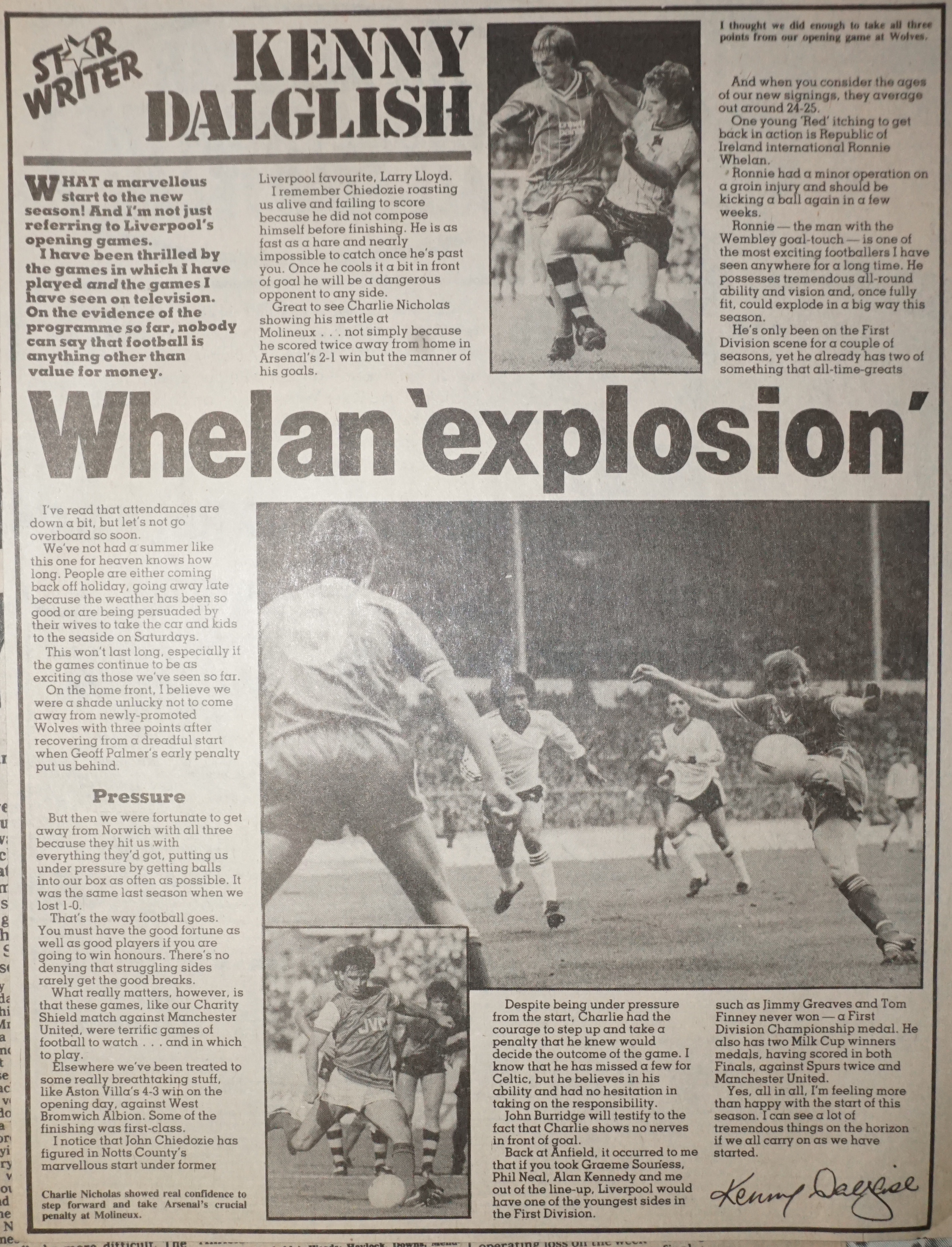 Whelan explosion by Kenny Dalglish - August 1983