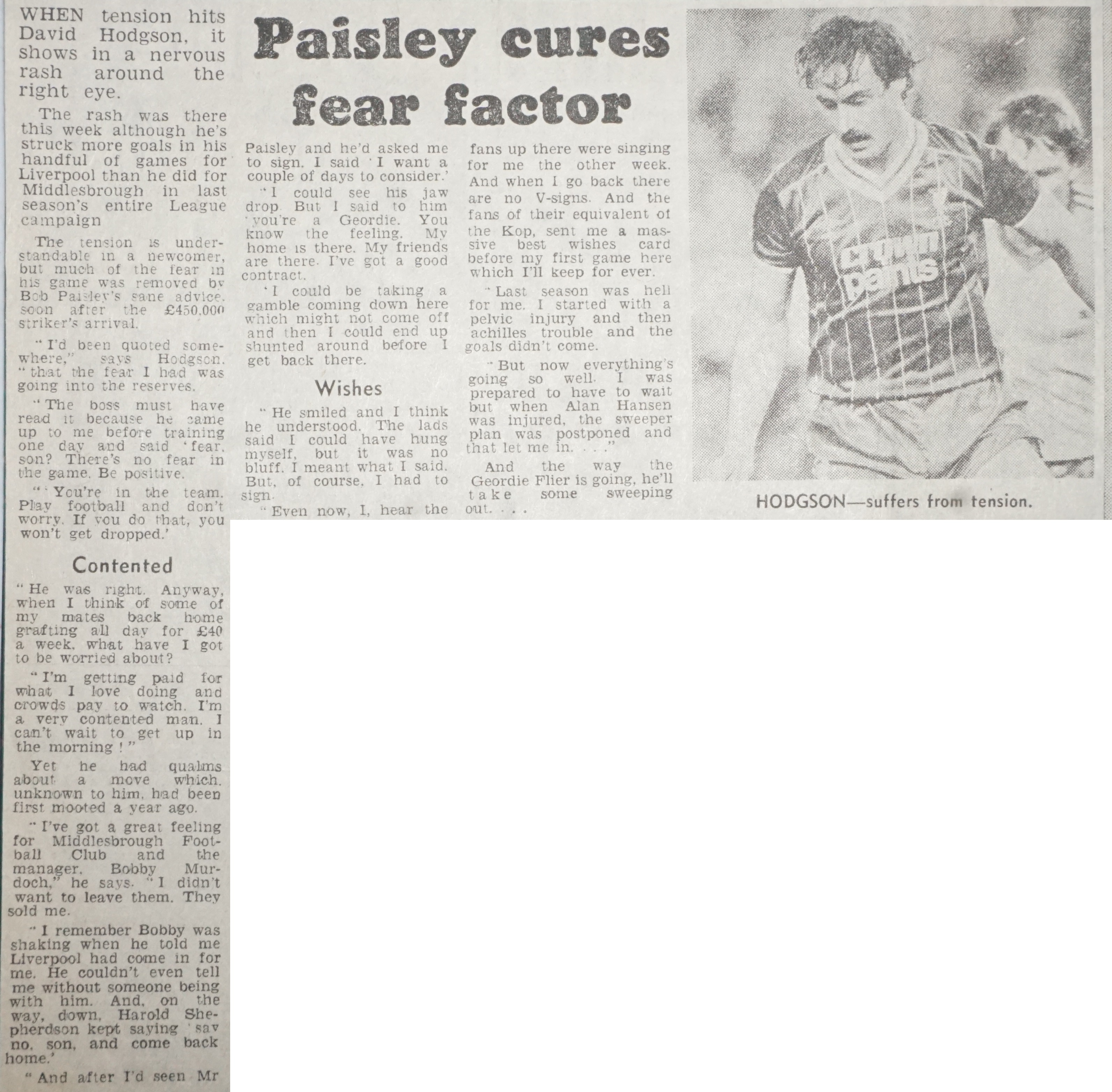 Paisley cures Hodgson's fear factor - September 1983
