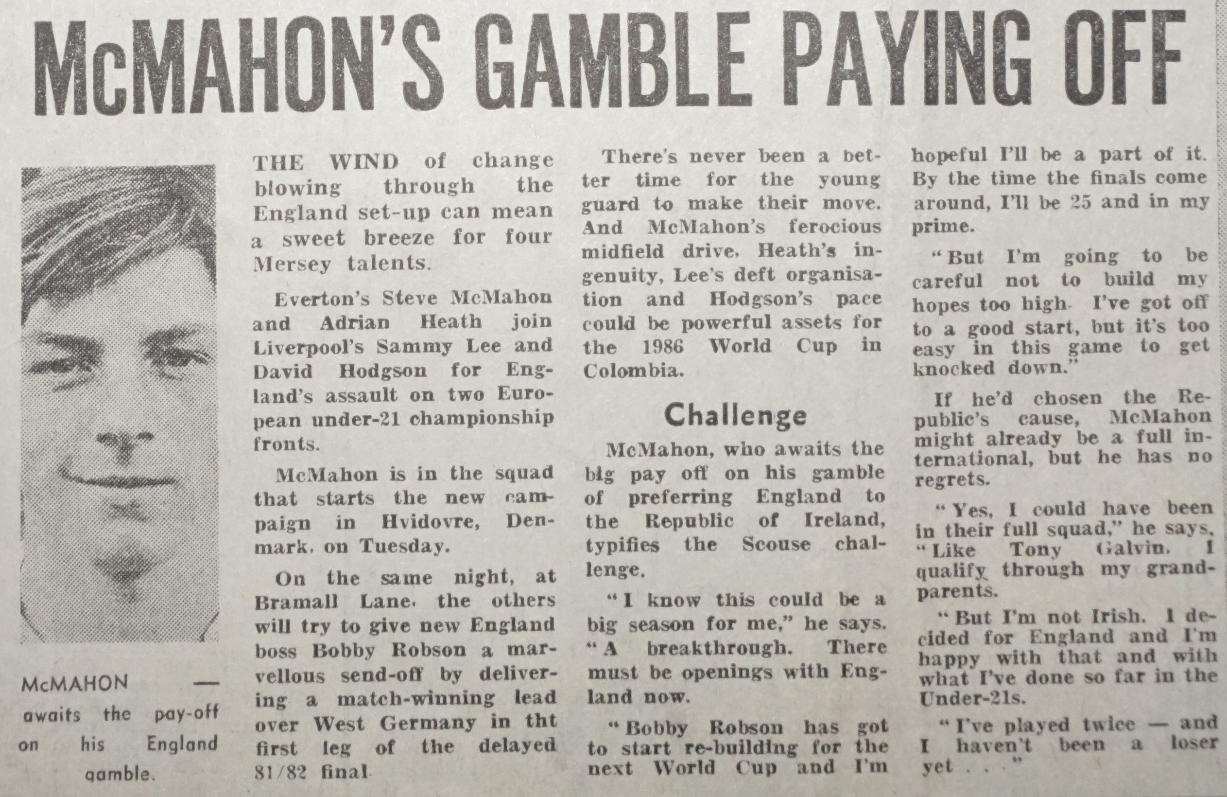McMahon's gamble paying off - September 1983