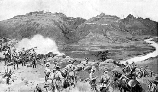 A drawing of the battle for the Spion Kop