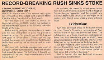 Record-breaking Rush sinks Stoke - 25 October 1994
