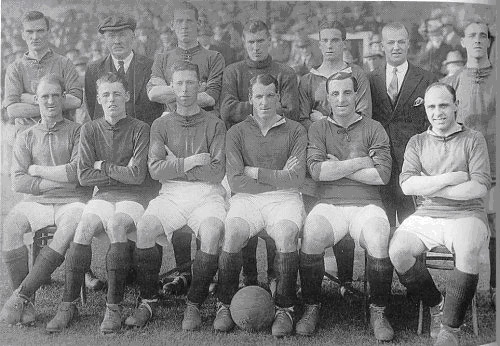 W Wadsworth, W Connell (trainer), McNab, Scott, Walsh?, [member of staff], Bromilow. Front row: Longworth, Gilhespy, Forshaw, MacKinlay, Chambers, Hopkin.