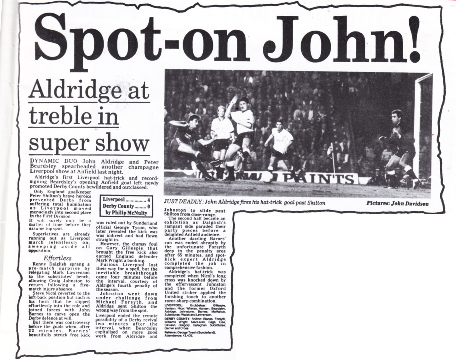 Aldridge at the treble! - 29 September 1987