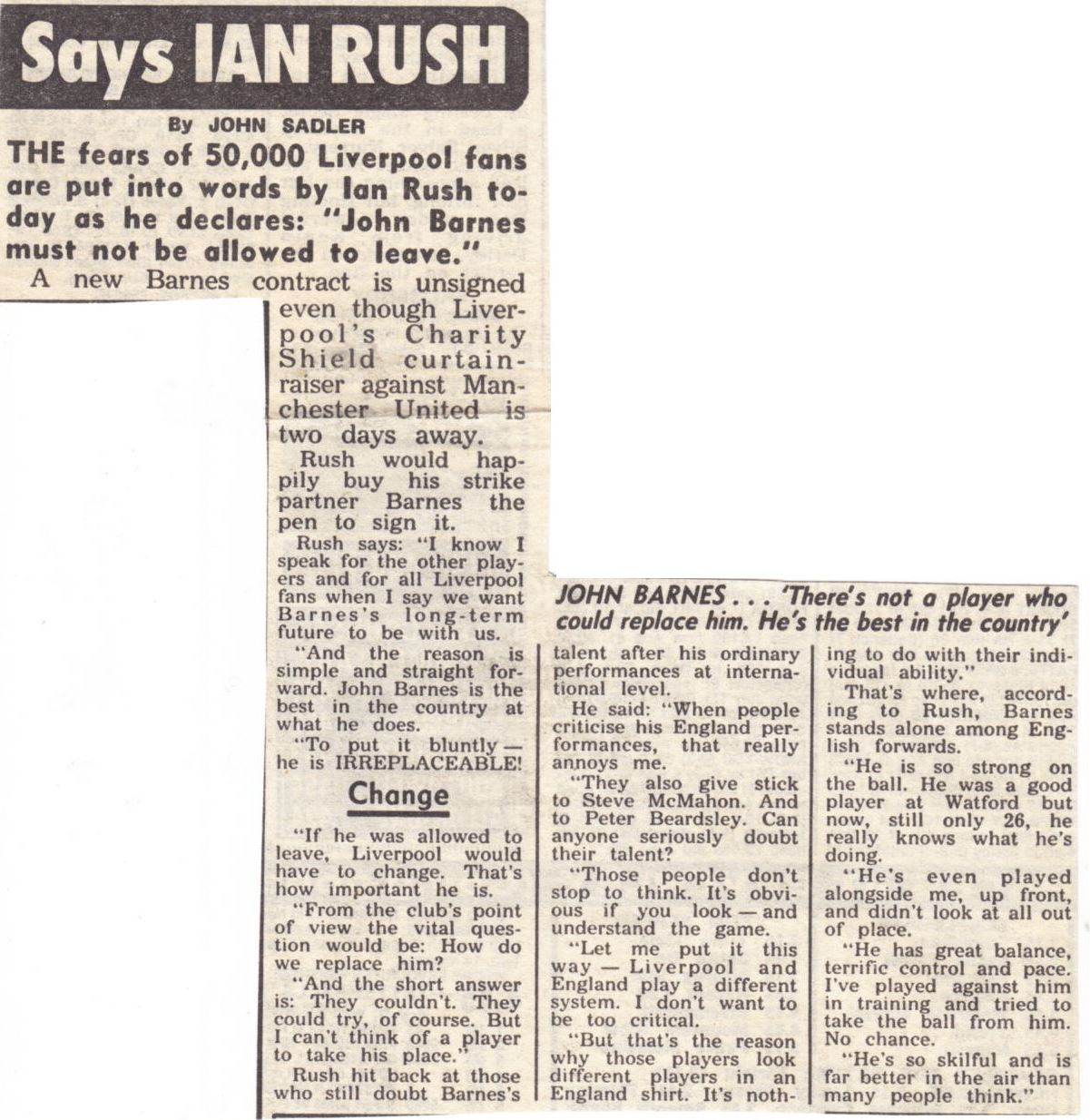 Barnes must not be allowed to leave, says Ian Rush - 1990