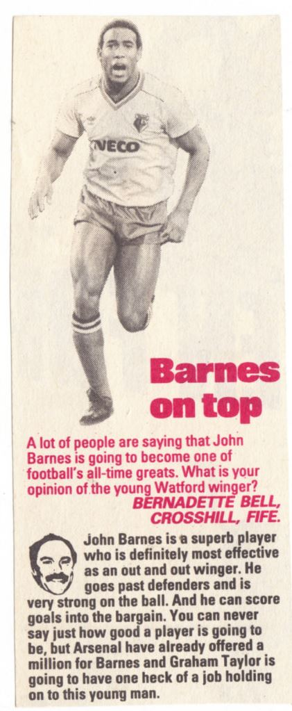 Barnes on top! - Jimmy Greaves reckons the Watford's man future is bright