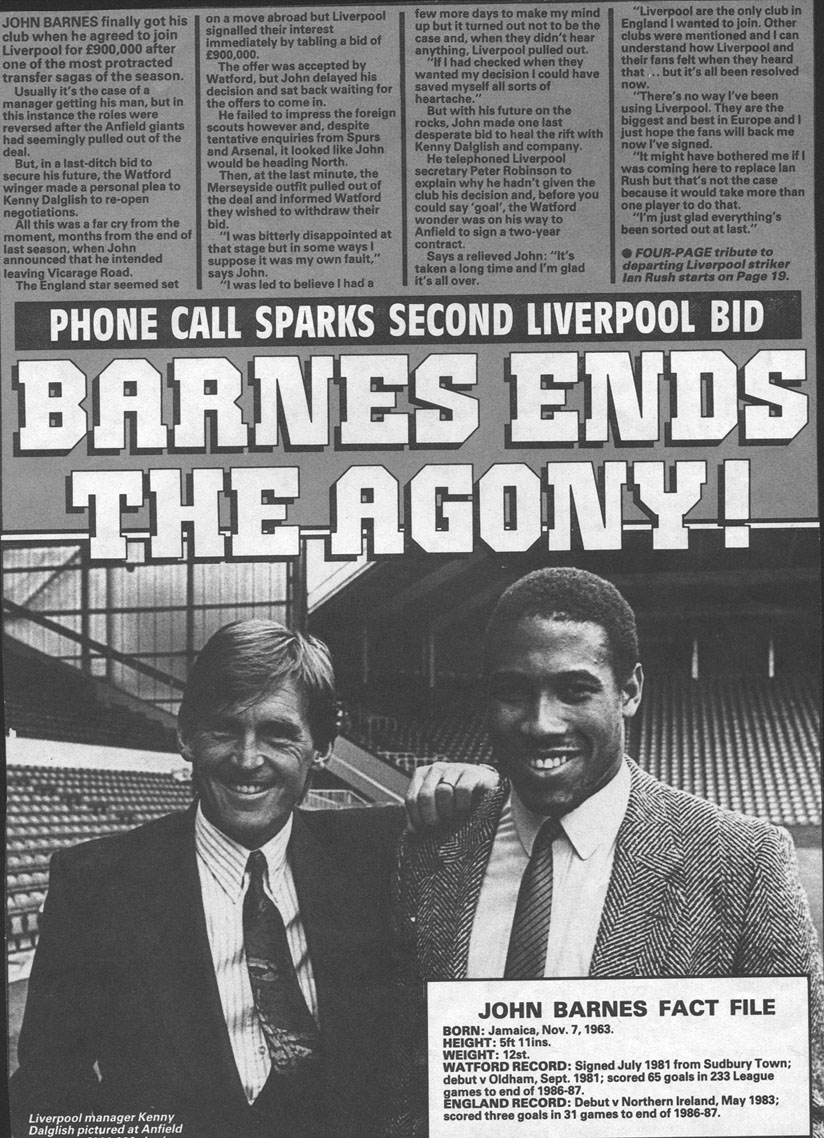 Barnes ends the agony - signs in at Liverpool in June 1987