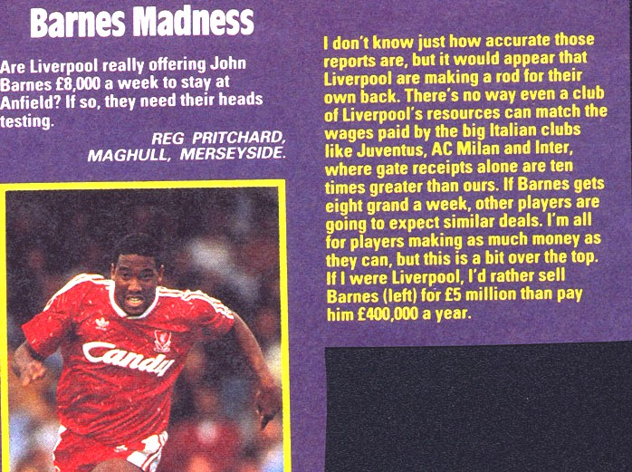 Madness to pay Barnes 8,000 pounds a week - Jimmy Greaves' column in Shoot! 1990