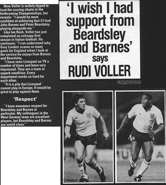 Rudi Voeller wishes he had Barnes and Beardsley on his side - 1988