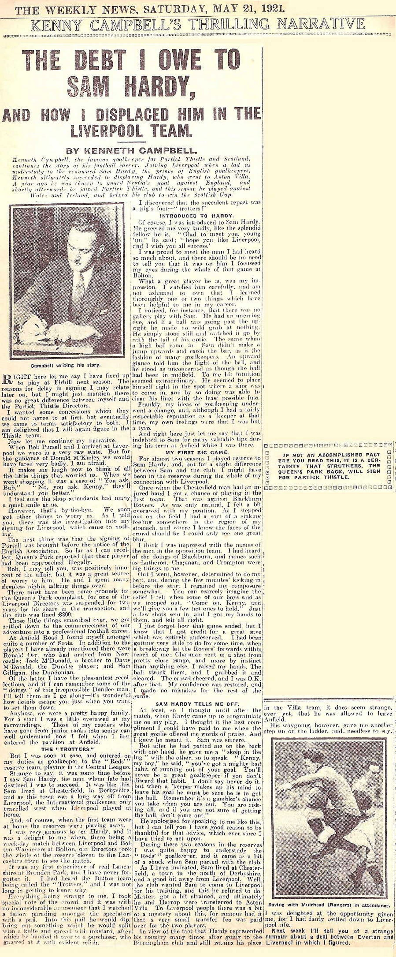 The debt I owe to Sam Hardy by Ken Campbell - The Weekly News 21 May 1921