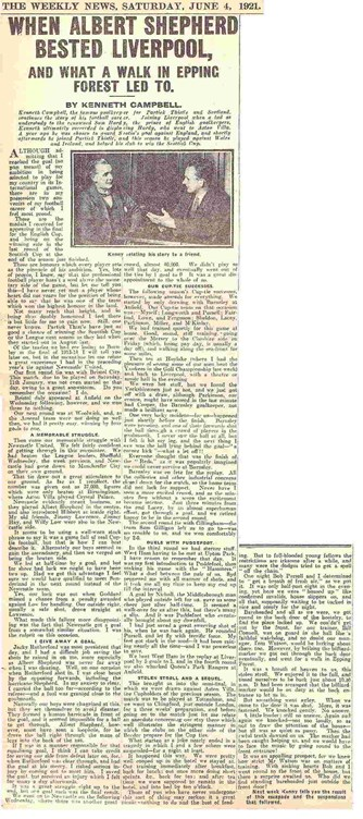 When Albert Shepherd bested Liverpool - The Weekly News 4 June 1921