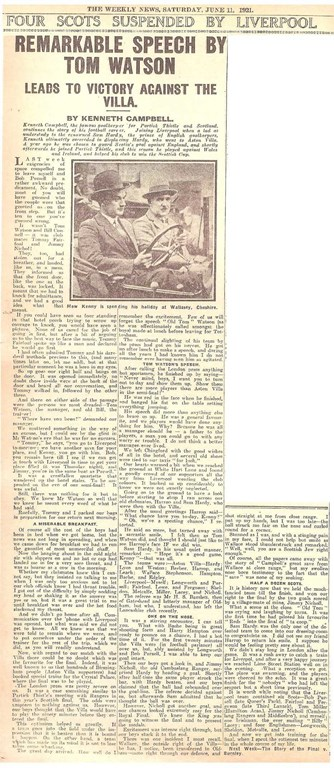 Remarkable speech by Tom Watson - The Weekly News 11 June 1921