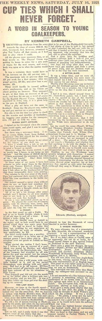 Cup ties I shall never forget - The Weekly News 16 July 1921
