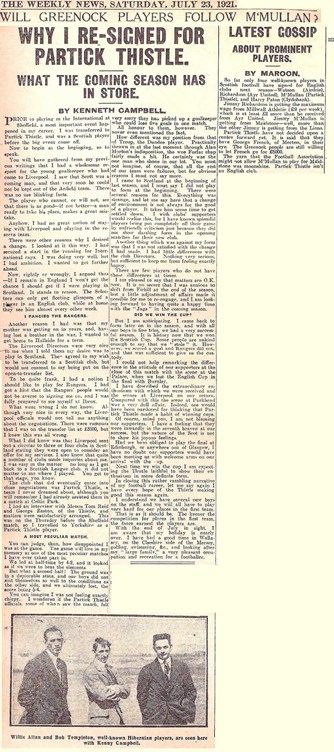 Why I re-signed for Partick Thistle - The Weekly News 23 July 1921