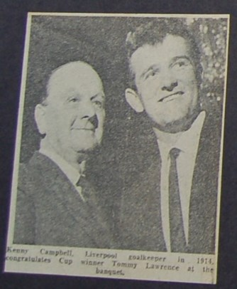 Ken Campbell congratulates Tommy Lawrence on 1965 Cup win