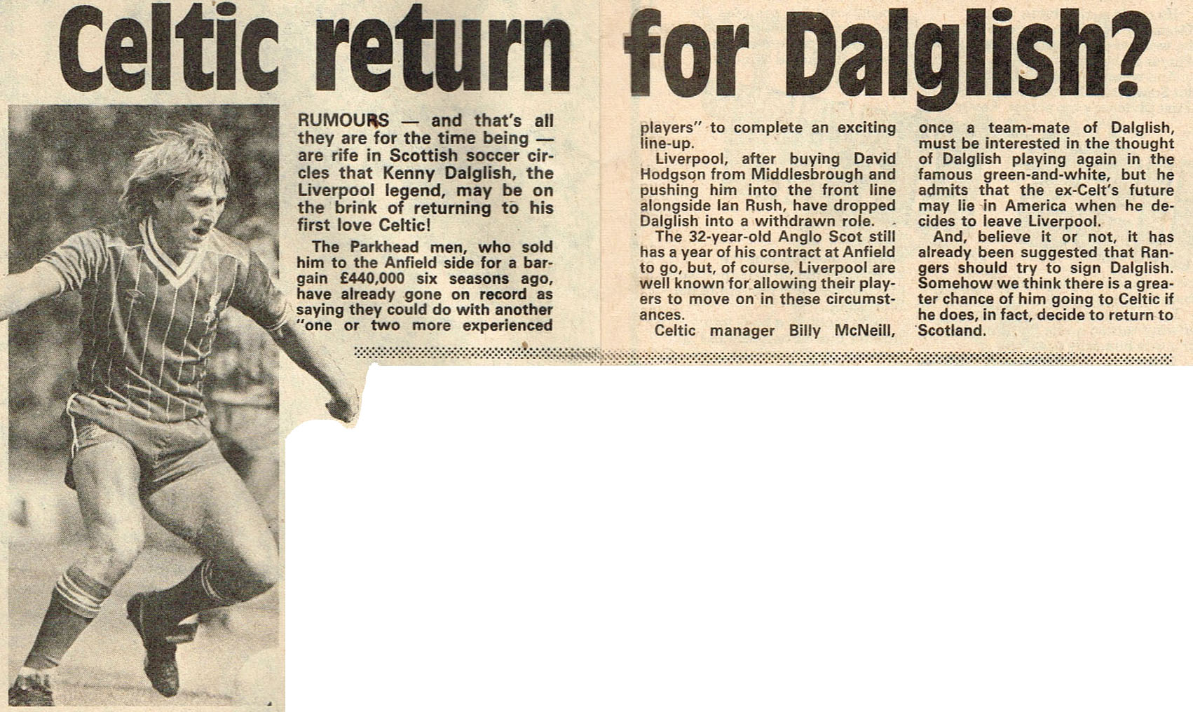 Celtic return for Dalglish? - 9 October 1982