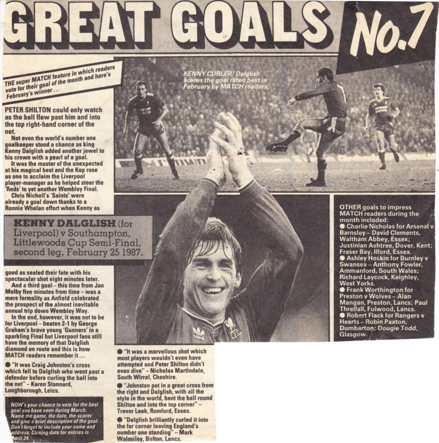 Great goals - 25 February 1987