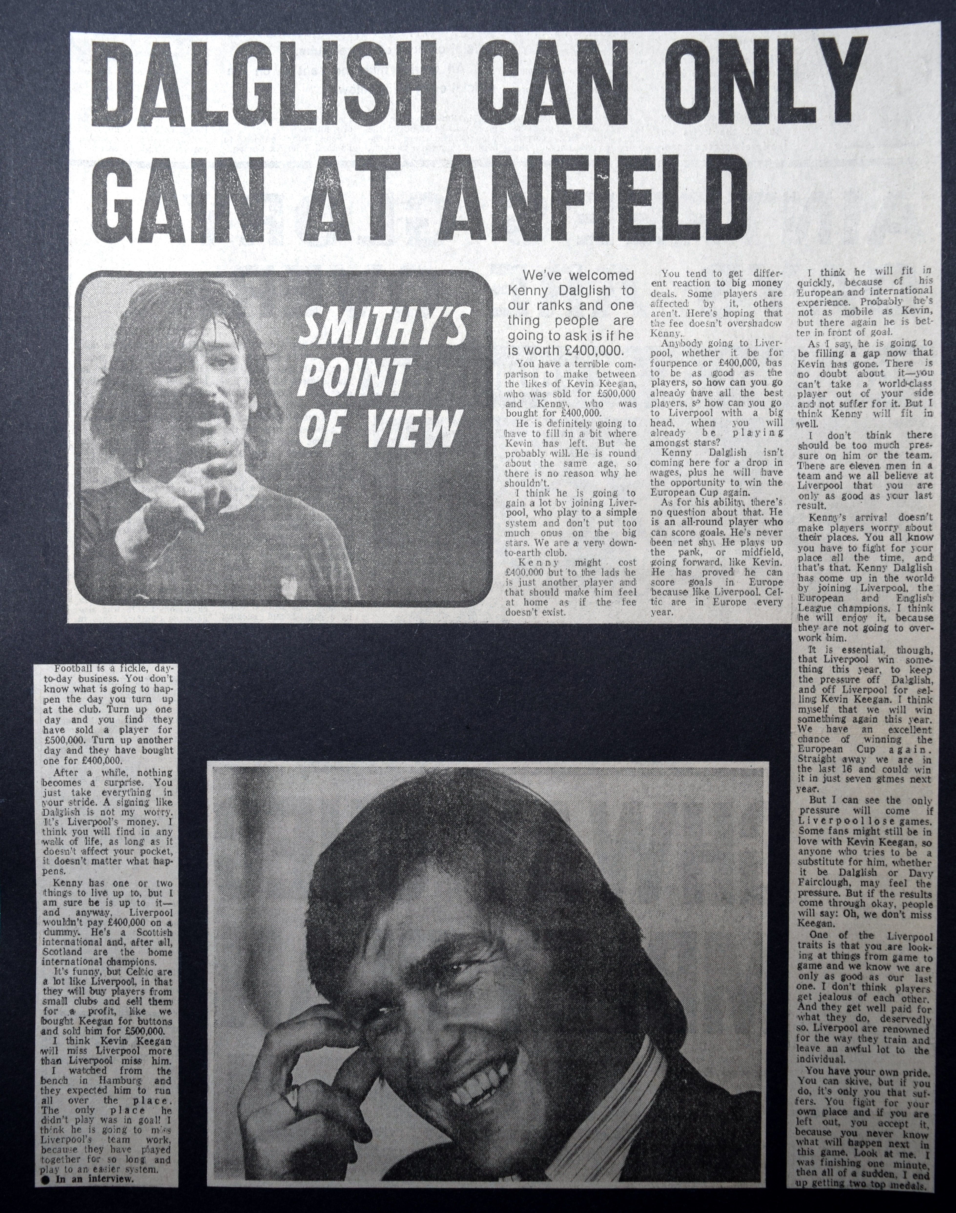 Dalglish can only gain at Anfield - August 1977