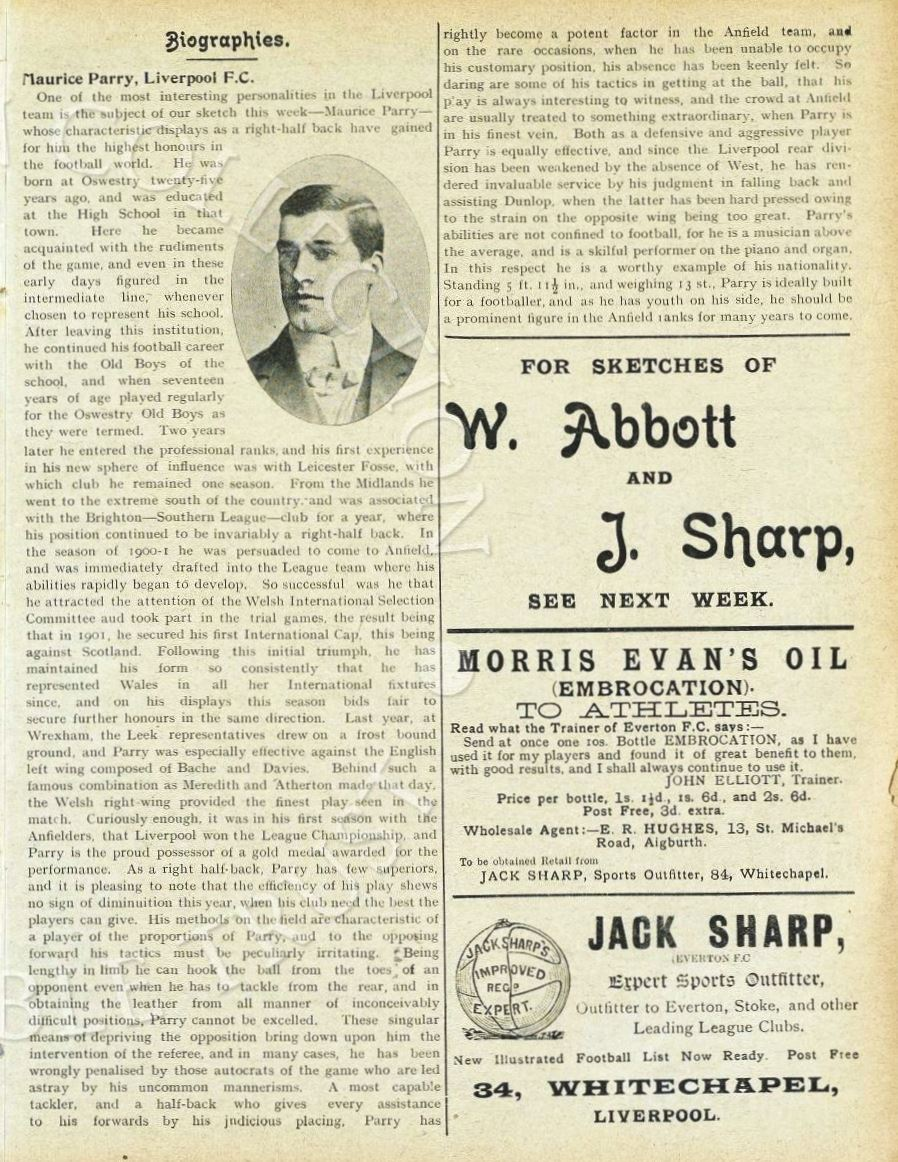 Biography in Liverpool match programme on 15 October 1904