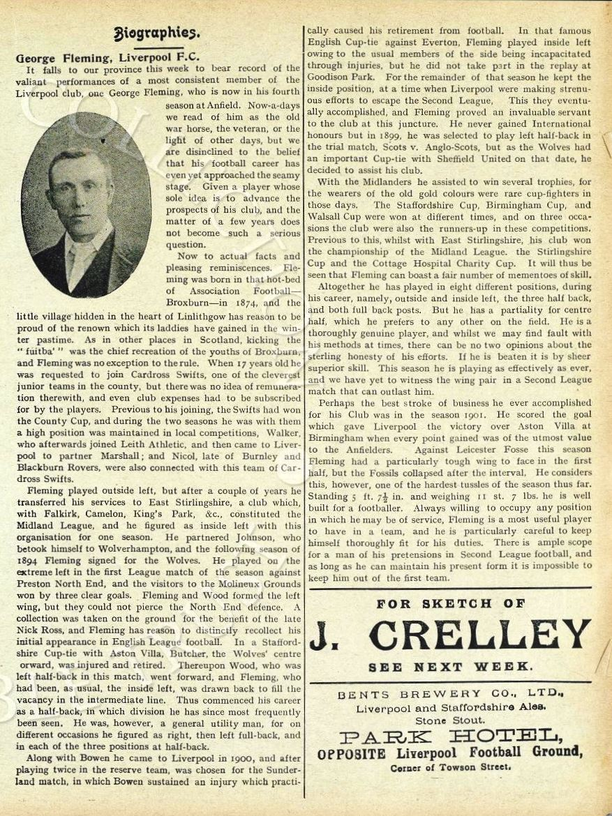 Biography in Liverpool match programme on 12 November 1904