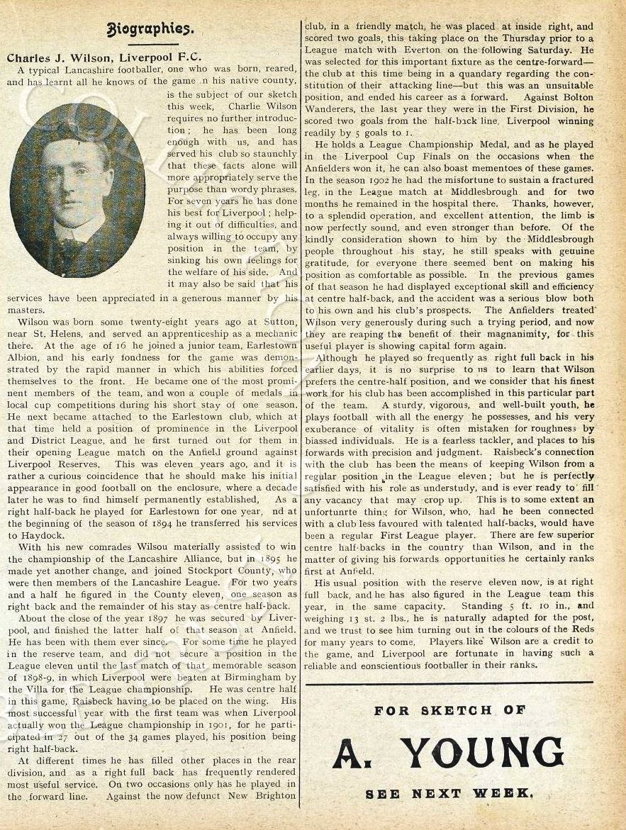 Biography in Liverpool match programme on 26 November 1904