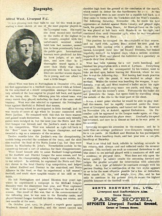 Biography in Liverpool match programme on 18 March 1905