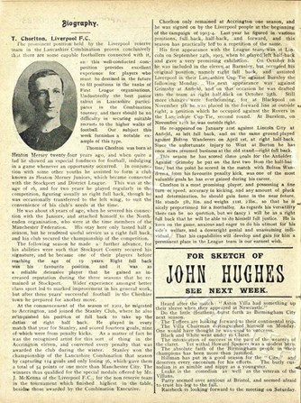 Biography in Liverpool match programme on 22 April 1905