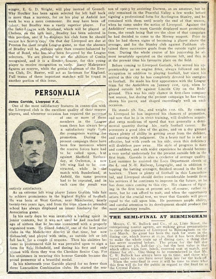 Biography in Liverpool match programme on 21 March 1906