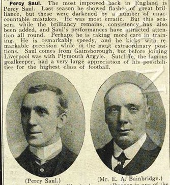 Mini biography in Liverpool match programme on 30 September 1907