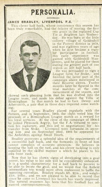 Biography in Liverpool match programme on 2 February 1908