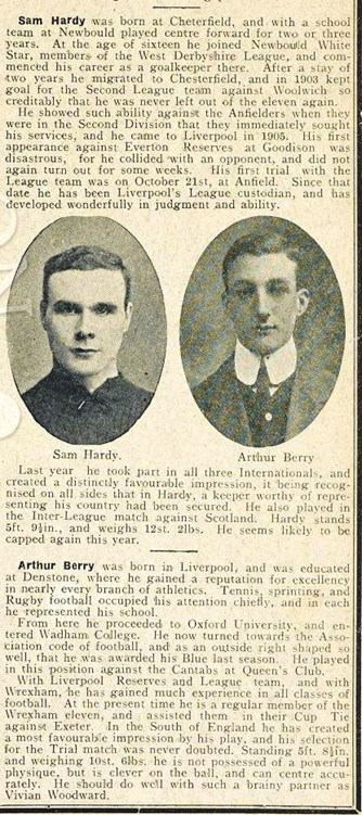 Mini biography in Liverpool match programme on 23 February 1908