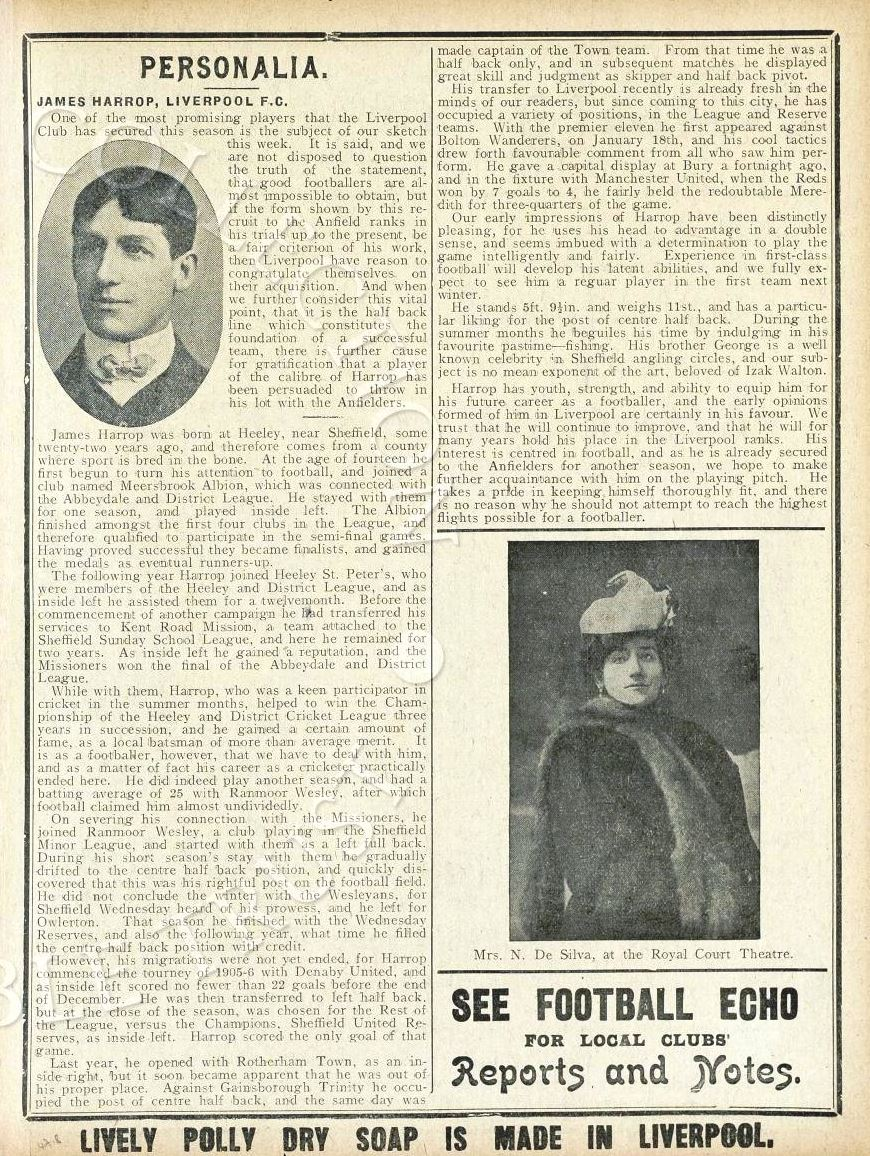 Biography in Liverpool match programme on 17 April 1908