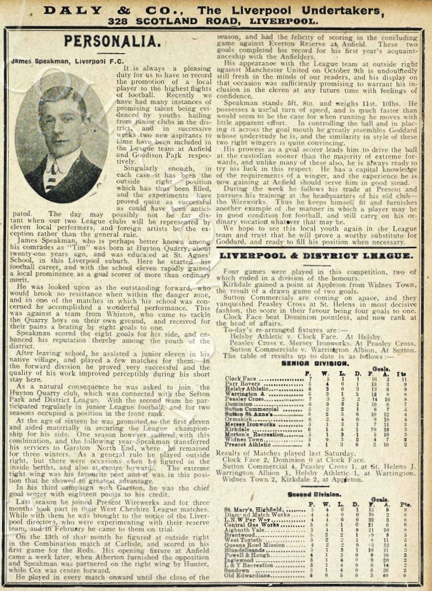 Biography in Liverpool match programme on 25 October 1909