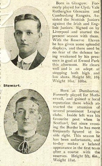 Mini biography in Liverpool match programme on 10 February 1912