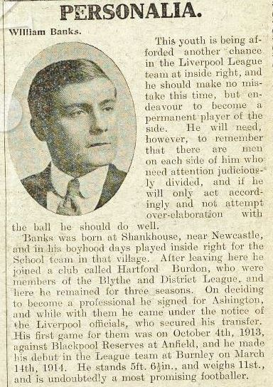 Biography in Liverpool match programme 6 February 1915