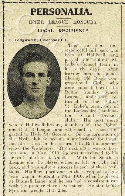 Mini biography in Liverpool match programme on 17 March 1915