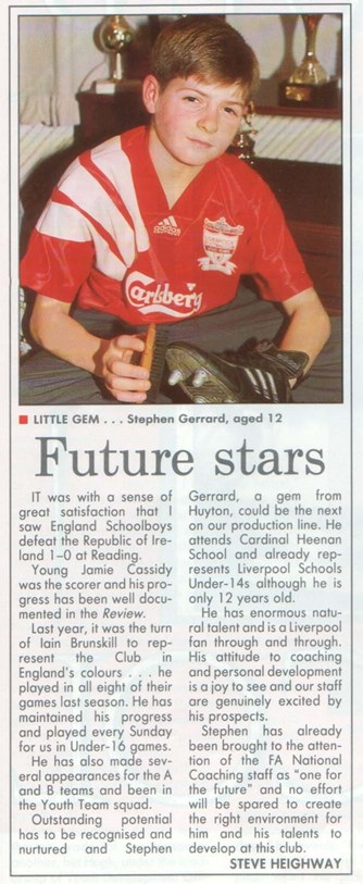 Spotlight on a 12-year-old Gerrard 6 March 1993
