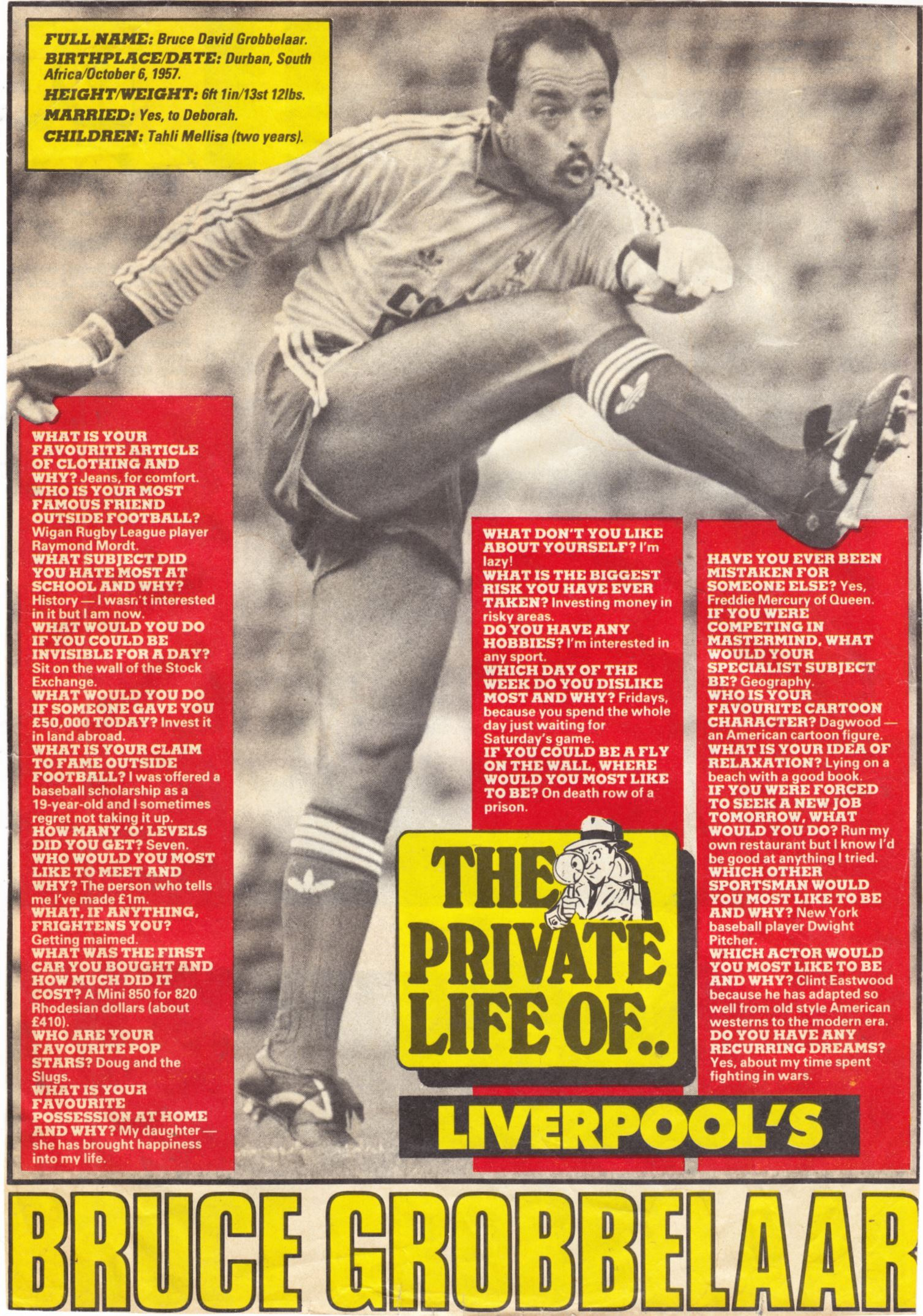 The Private Life of Bruce Grobbelaar - 1985
