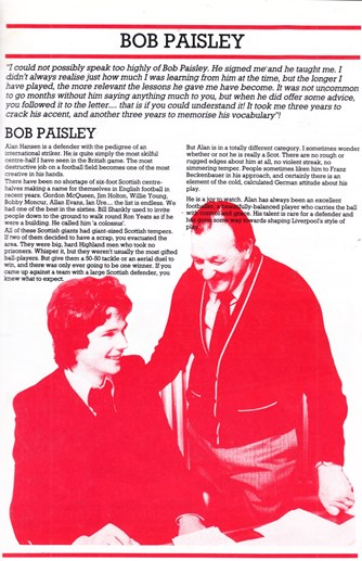 Bob Paisley on Alan Hansen