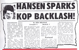 Hansen sparks Kop backlash! - August 1980