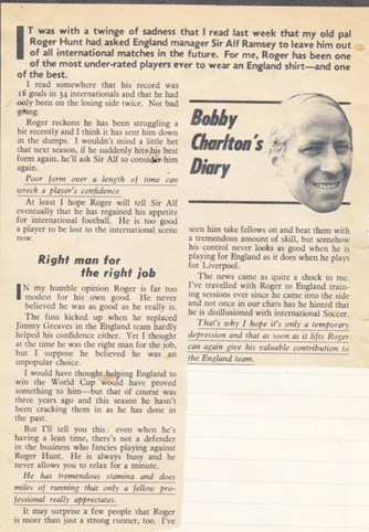 Bobby Charlton on Hunt's international retirement in 1969