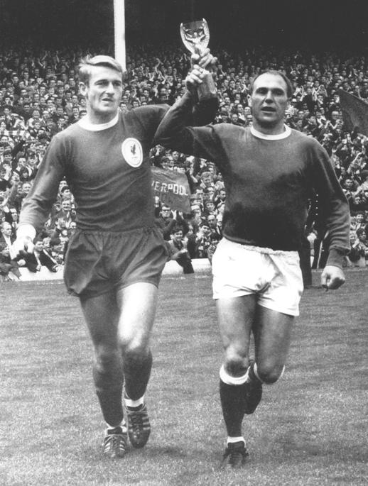 Roger Hunt and Everton's Ray Wilson parading the World Cup trophy