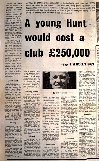 A young Hunt would cost the club £250,000 - Bill Shankly 1972