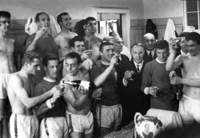 Liverpool FC celebrating their title triumph in 1963-64.