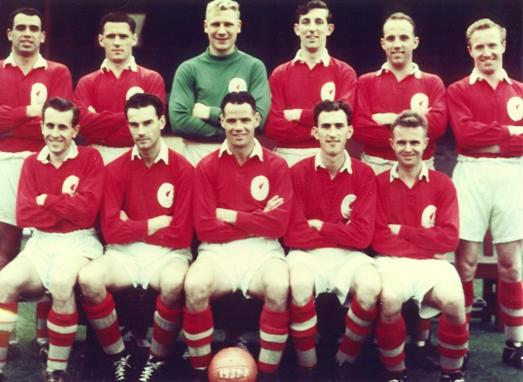 Laurie fourth from the left in the top row of the 1957-58 squad