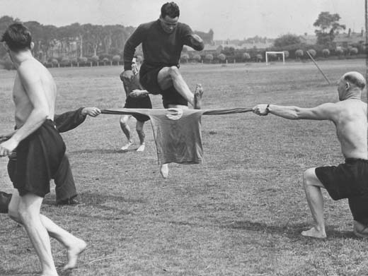 Billy training for the Rest of the World game in 1955